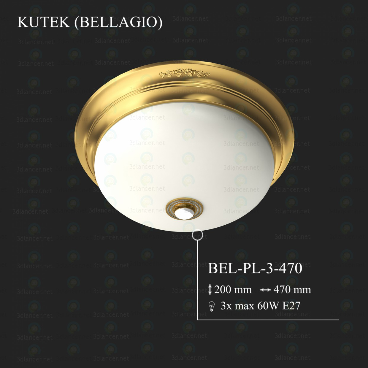 3d modeling Plafonera KUTEK BELLAGIO BEL-PL-3-470 model free download
