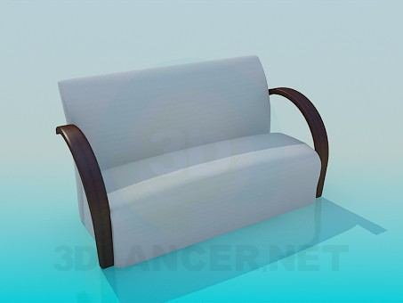 3d modeling Sofa with wooden armrests model free download