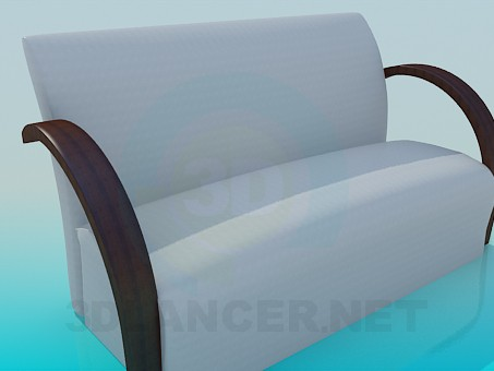3d model Sofa with wooden armrests - preview