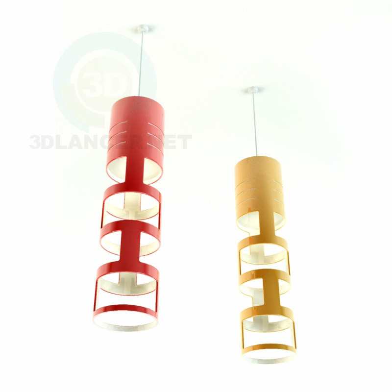 3d model red and yellow lights - preview