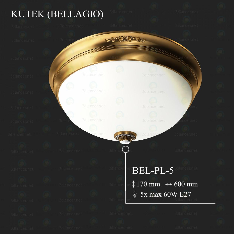 3d моделирование Плафоньера KUTEK BELLAGIO BEL-PL-5 модель скачать бесплатно