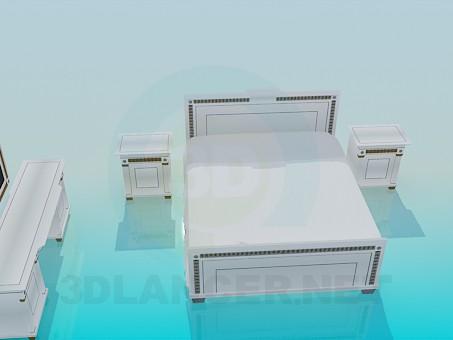 descarga gratuita de 3D modelado modelo Conjunto de muebles en el dormitorio