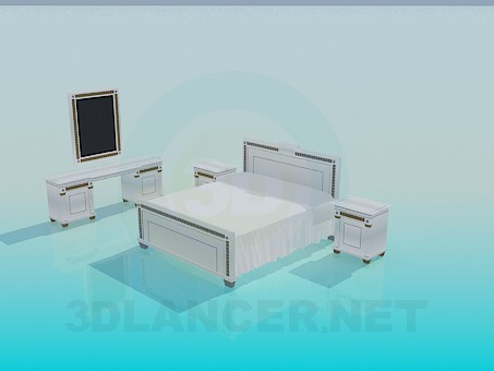 3d model Set of furniture in the bedroom - preview