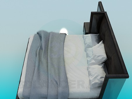 3d model Bed with high headboard - preview