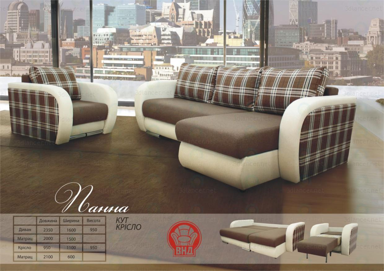 3d модель Угловой диван Панна – превью