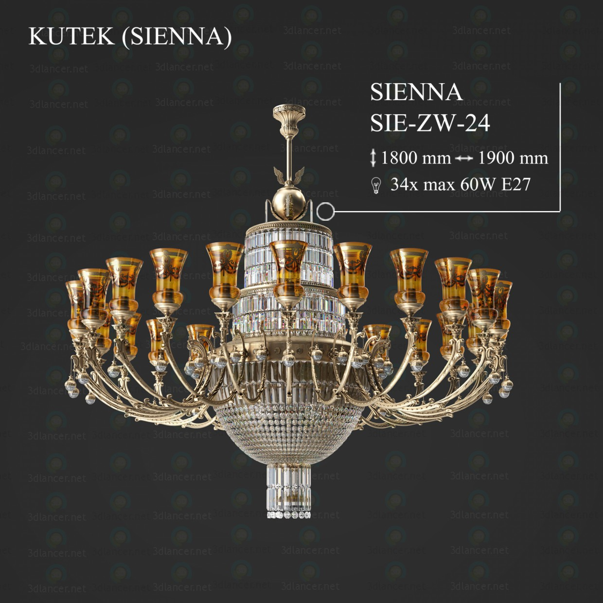 3d model Chandelier KUTEK SIENNA SIE-ZW-24 - preview