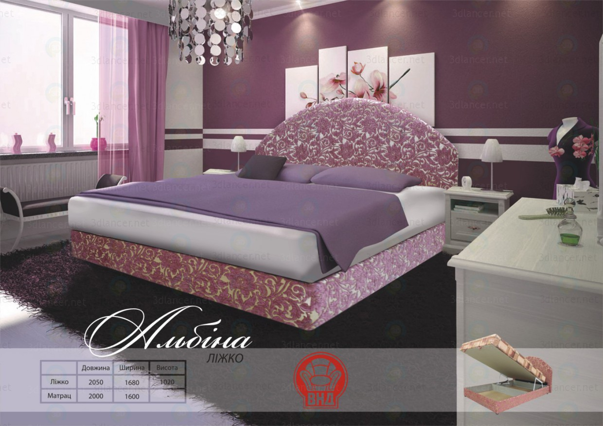 3d model Albina bed - preview