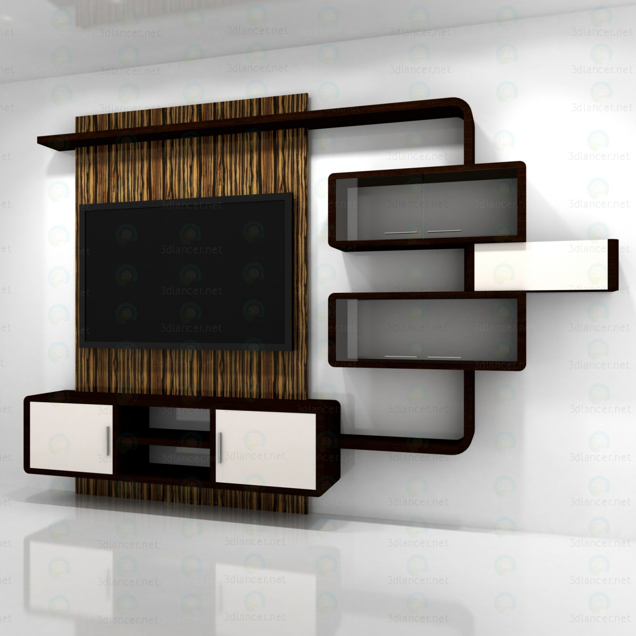 3d Model Living Room Furniture Style High Tech Download
