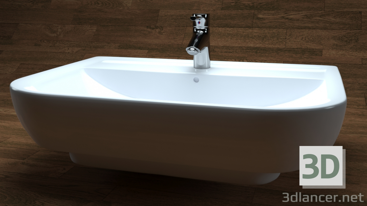3d model Washbasin derby style, white, VIGOUR - preview