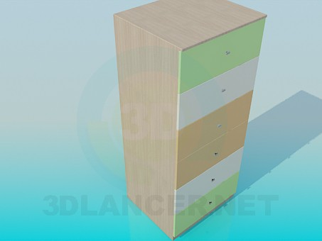 3d model High cabinet with drawers - preview