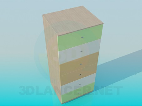 3d модель Высокая тумба с выдвижными ящиками – превью