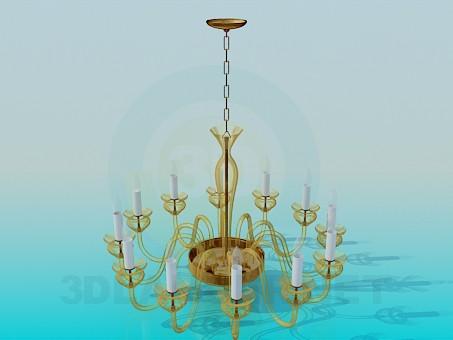 3d модель Люстра с лампами-свечками – превью
