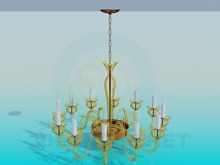 modelo 3D Candelabro con vela de lámparas - escuchar