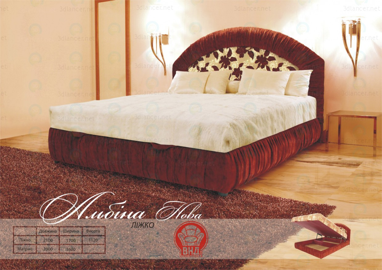 3d model Albina Bed New - preview