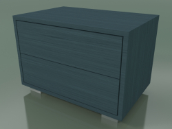 Bedside table with 2 drawers (51, Brushed Steel Feet, Lacquered Air Force Blue)