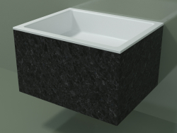 Wall-mounted washbasin (02R132301, Nero Assoluto M03, L 60, P 48, H 36 cm)