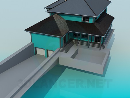 3d modeling Cottage with pool model free download