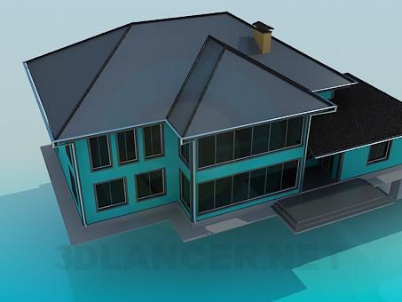 modelo 3D Casa de campo con piscina - escuchar
