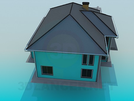 3d model Cottage with pool - preview