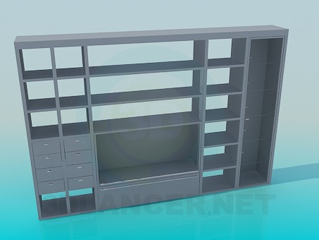 3d модель Стенка-стеллаж с местом под ТВ – превью