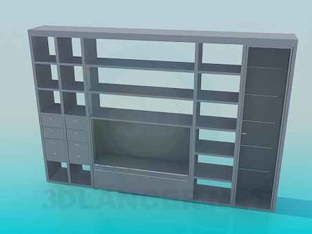 3d модель Стінка-стелаж з місцем під ТВ – превью