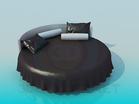 3d модель Круглая кровать – превью