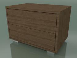 Bedside table with 2 drawers (51, Brushed Steel Feet, Natural Lacquered American Walnut)