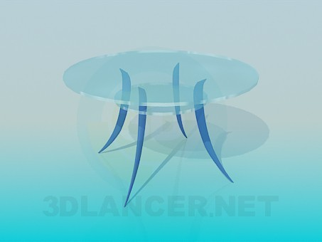 3d model Round table with arched legs - preview