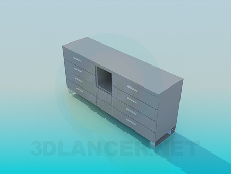 3d model Chest of drawers with open shelf - preview