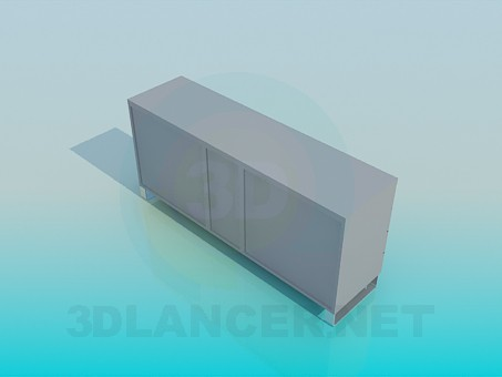 modelo 3D Cajonera con estante abierto - escuchar