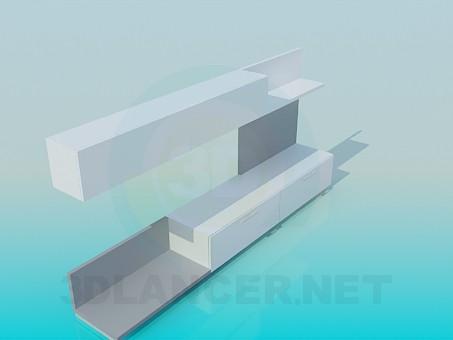 modelo 3D Estante y estante-dos en uno - escuchar