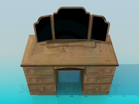 3d modeling Wooden three-leaved mirror model free download