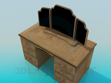 3d model Wooden three-leaved mirror - preview