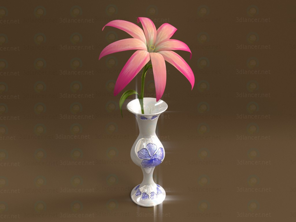 3d model Vase with a flower - preview