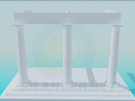 3d модель Сходинки з колонами – превью