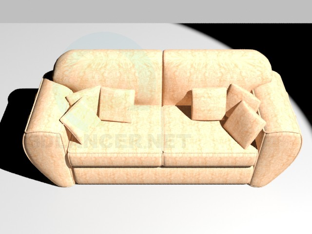 3d модель Диван с подушками – превью
