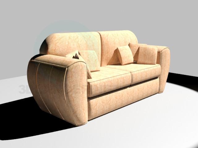 modelo 3D Sofá con cojines - escuchar