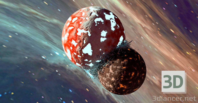 3d model Colision de planetas - vista previa