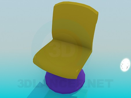 3d model A chair on the stem with round pillar - preview