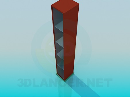 3d model Thin wall cabinet with shelves - preview