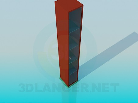 3d модель Тонкий шкафчик с полками – превью