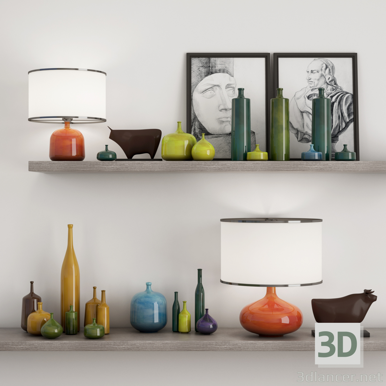 3d model Shelves, vases, paintings, figures - preview