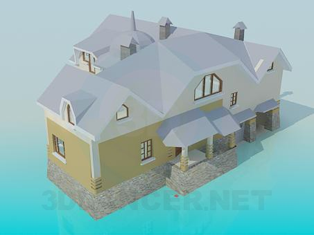 3d model 2-storey house - preview