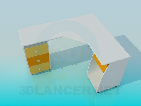 3d model Angular desk - preview