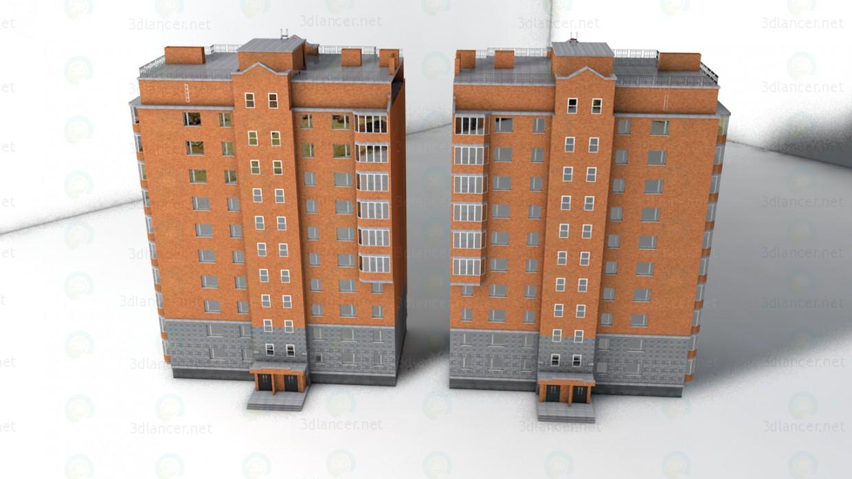 3d модель 10 этажный кирпичный дом – превью