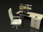 Computertisch und Stuhl mit einer Rolle