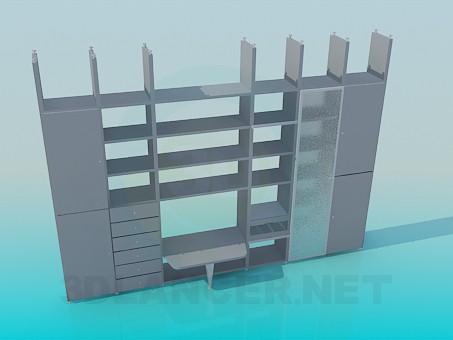 3d модель Стінка-шафа прикріплюється до стелі – превью