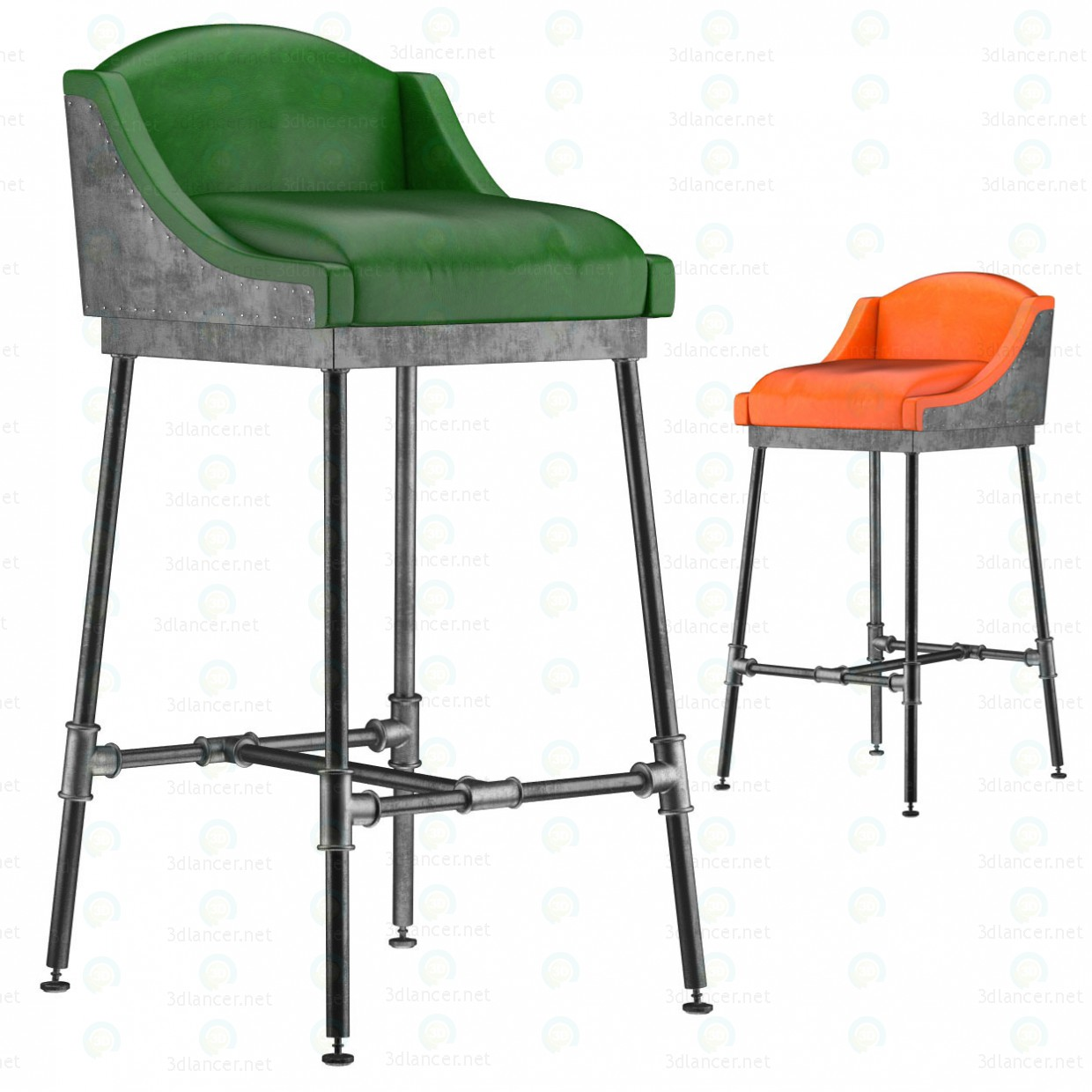 IRON SCAFFOLD BAR STOOL (6 colors) paid 3d model by artistos preview