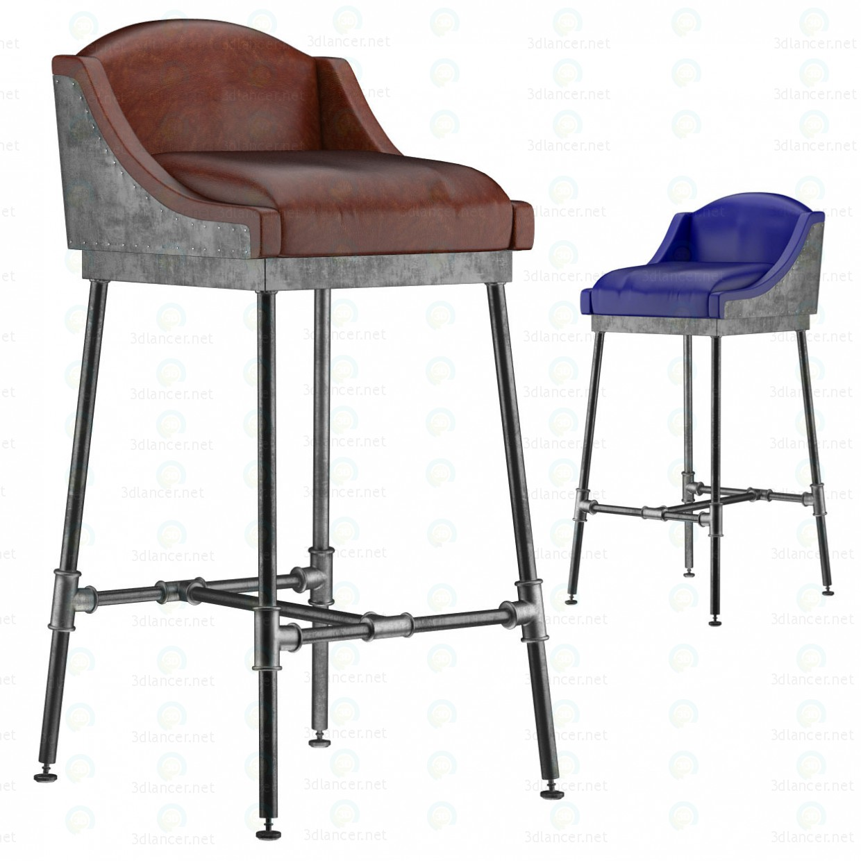 3d IRON SCAFFOLD BAR STOOL (6 colors) model buy - render