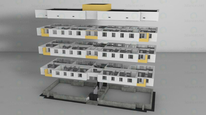 modelo 3D Casa residencial con diferente número de pisos - escuchar